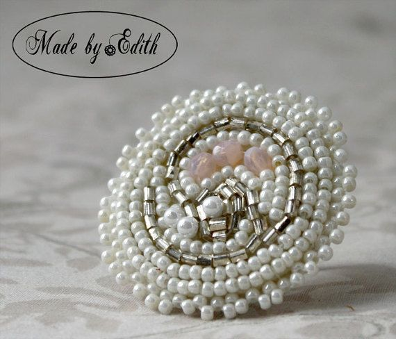 Check out this item in my Etsy shop https://www.etsy.com/listing/212895900/ring-bead-embroidered-ring-white-dream
