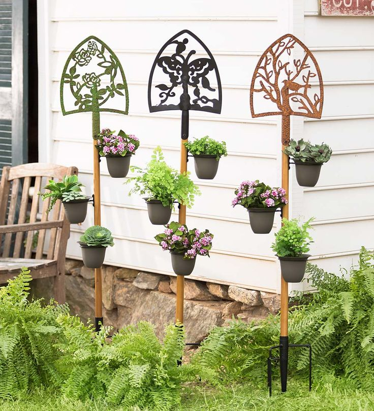 Decorative shovel plant holder garden stake decorative for Decorative garden stakes