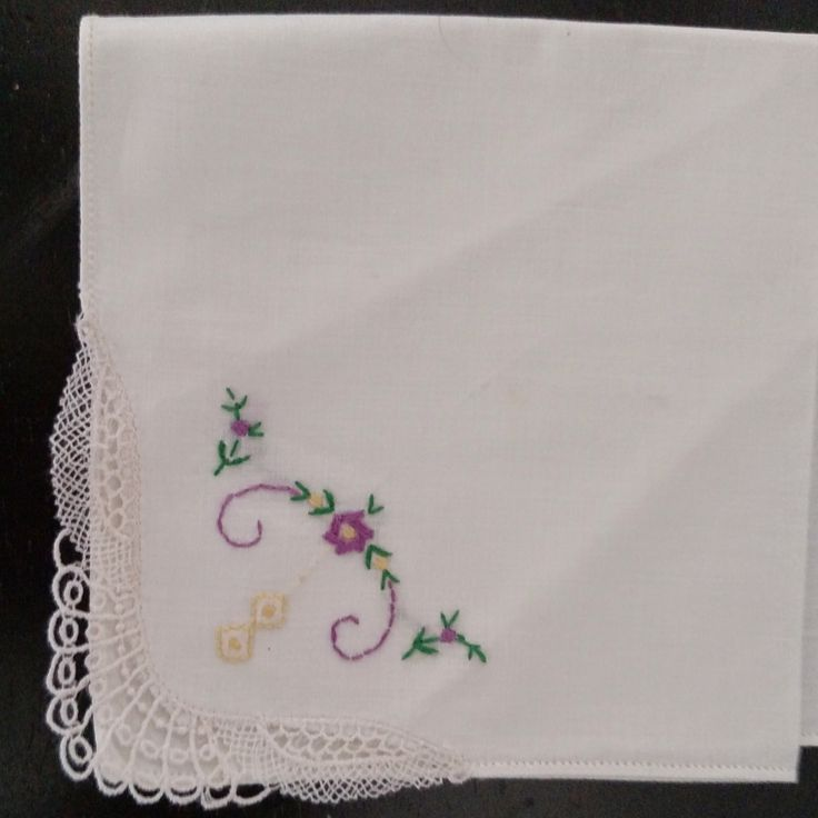 Floral Vintage Hand Embroidered and Crocheted Hanky Handkerchief  Purple, yellow and green Flowers Floral Crochet Cross Stitch by awesome80s on Etsy