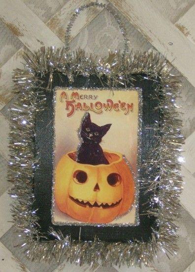 "Victorian Halloween Decorations | ... Kitty"" Plaque #ShabbyChic-Halloween #Vintage-Halloween-Decorations"