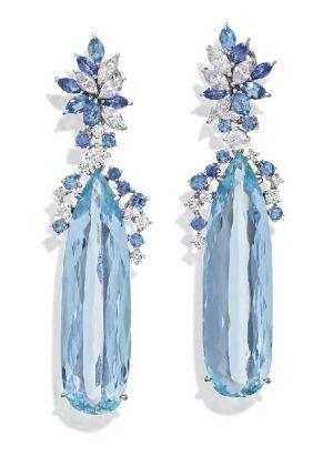http://rubies.work/0946-multi-gemstone-pendant/ PAIR OF AQUAMARINE AND DIAMOND EARRINGS