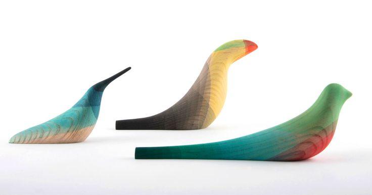 Elegant Wooden Birds Dipped in Watercolor Plumage by Moisés Hernández