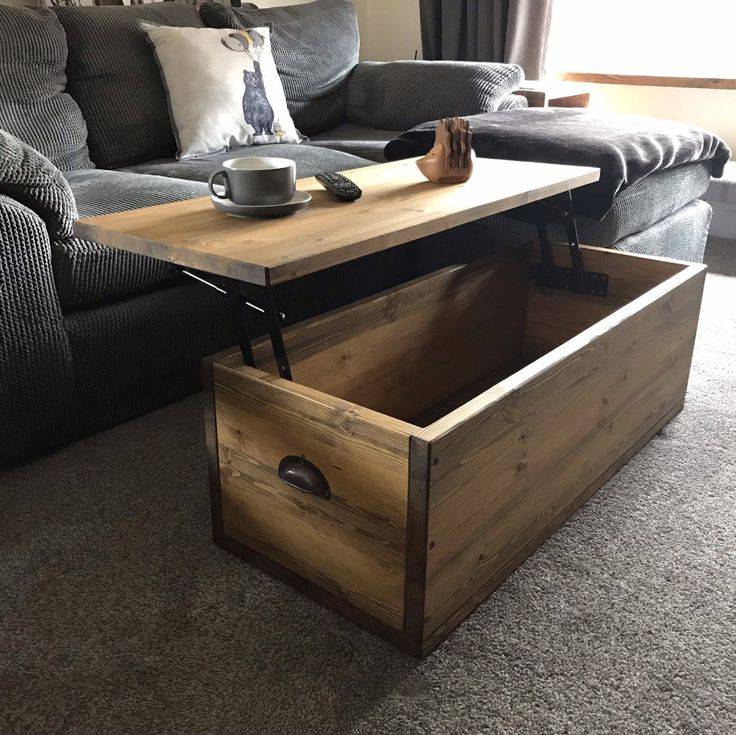 Adjustable height coffee table chest modern industrial
