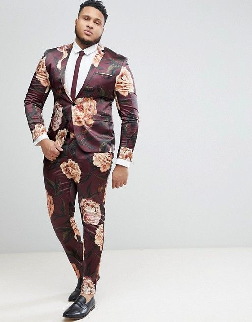 c2106310dc809a ASOS | ASOS PLUS Super Skinny Suit Jacket In Burgundy Floral Print