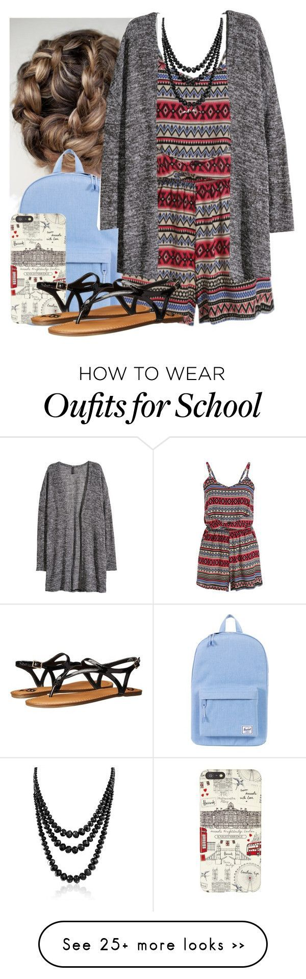 """""""School"""" by free-hugs-for-everyone on Polyvore featuring Herschel Supply Co., Harrods, H&M, Fergalicious and Bling Jewelry"""
