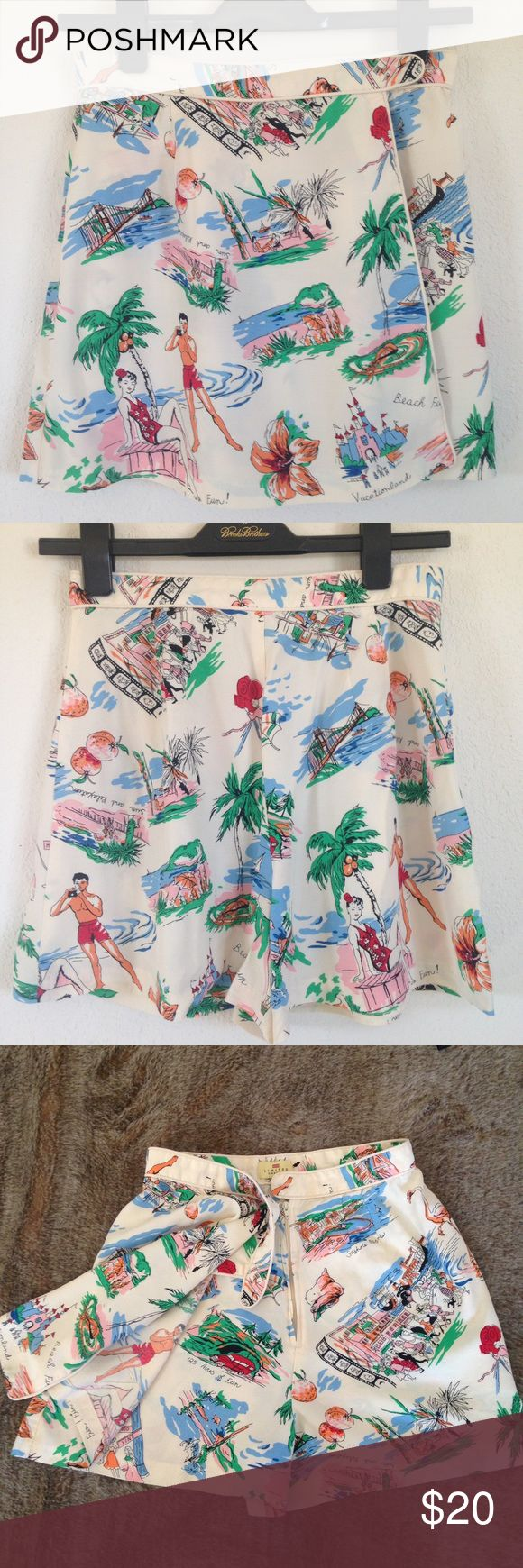 World's Greatest Vintage Skort Seriously, look at this thing!! Amazing retro fabric with travel-themed images. Awesome condition. Piping and crossover button closure to cover hidden front zipper. Size 8, waist flat approx 13 1/4, length approx 15 1/2. Get it now, or live to rue the day. Limited America Shorts Skorts