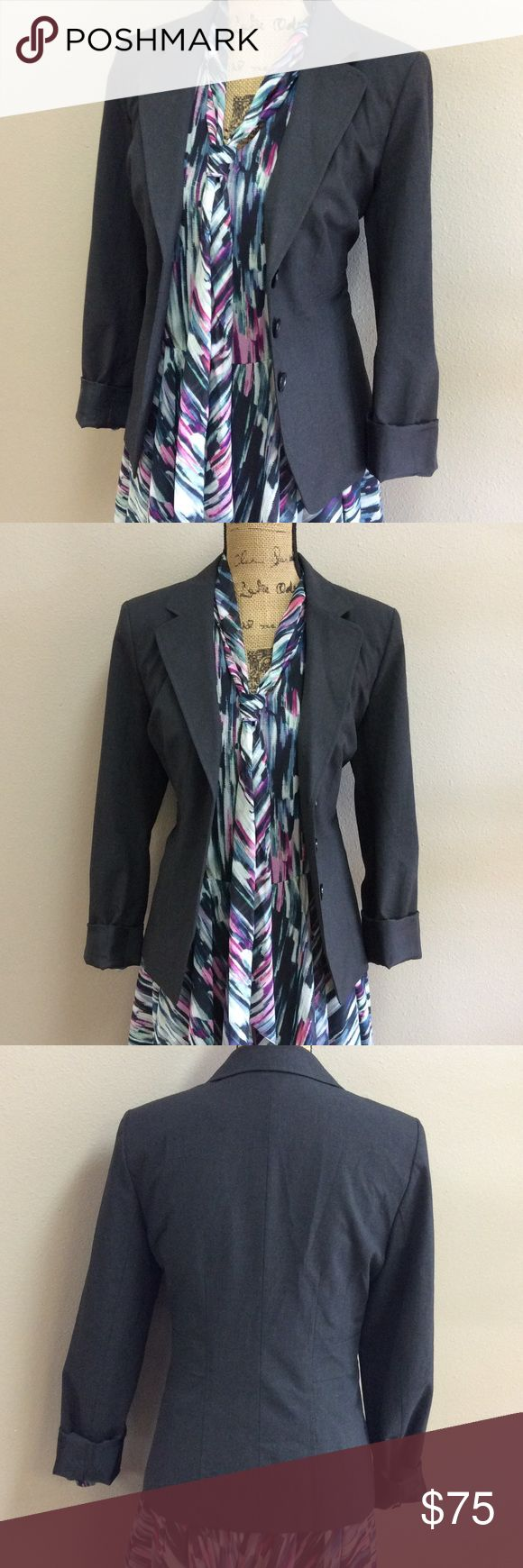 "HALOGEN Blazer Dimensions: shoulder to shoulder 16"", total length 24"". Material content 62% polyester, 33% viscose, 5% spandex. Lining 100% polyester. Dry clean only. Halogen Jackets & Coats"