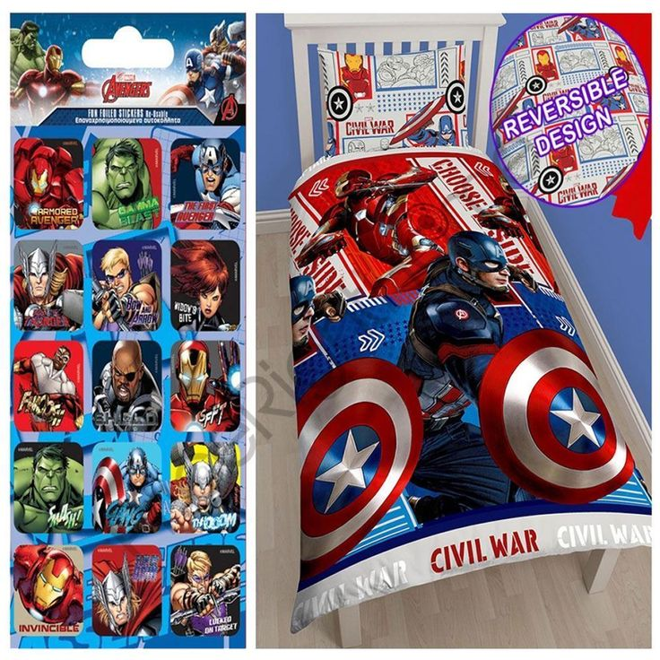 Marvel Captain America Civil War Single Duvet Cover Set + Free Small Stickers
