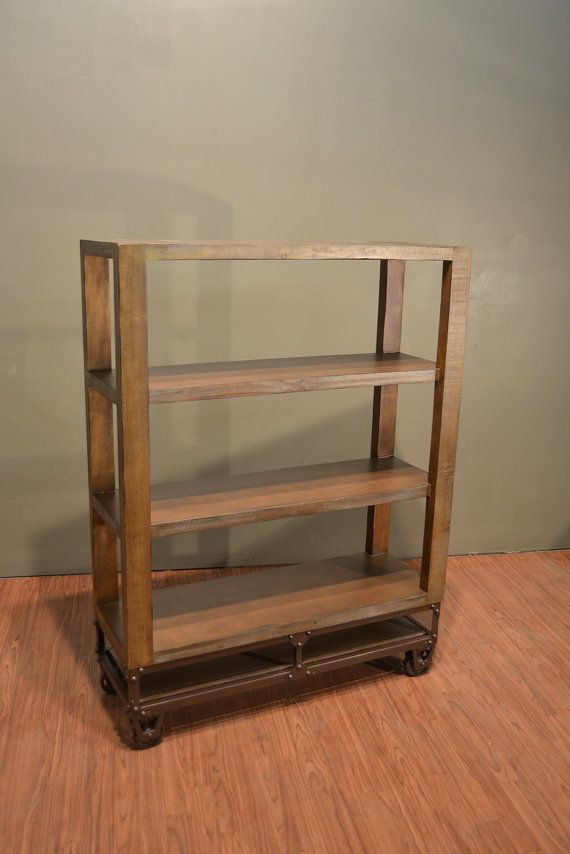 Rustic solid wood Bookshelf with Four Shelves and Casters Hand Rubbed finish with a golden patina Solid and Durable Solid Wood construction