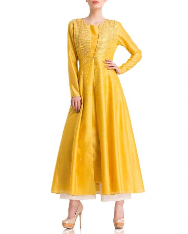 AM:PM Mango yellow achkan jacket embellished with sequins. Palazzo pants