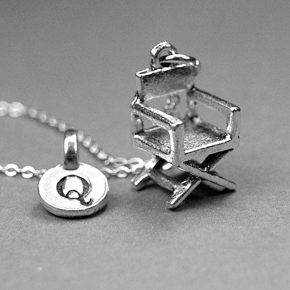 Directors chair necklace, director chair charm, filmmaker necklace, film maker charm, movie necklace, personalized gift, initial necklace by chrysdesignsjewelry on Etsy