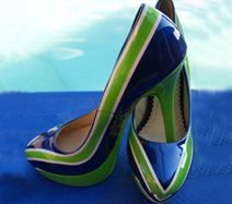 "High Heel Airbrush - ""Tuner"" in Kawasaki Grün und Yamaha Blau Perlmut Gr. 37, Absatz: 13cm"