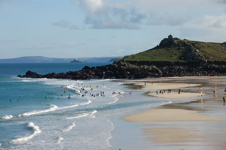 Porthmeor beach and the Island in St Ives, Cornwall