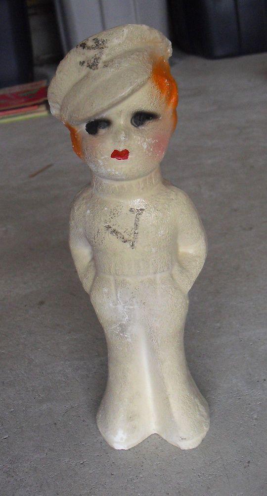 "Vintage 1930s Chalkware Girl in Uniform Figurine 10 1/2"" Tall"