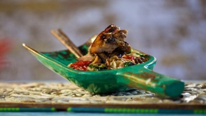 Photo of Marinated Barbecued Pork with Hot Noodle Salad