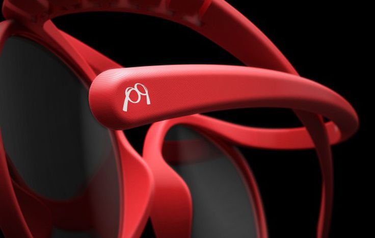 3D printed red glasses by pq eyewear, designed by Ron Arad - detail.