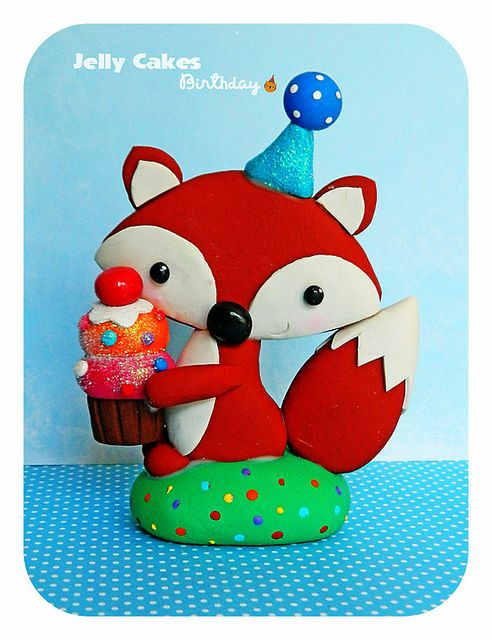 Birthday Fox topper by Jelly Cakes Designs