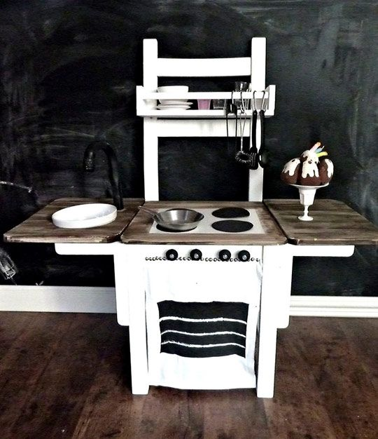 Chair to play kitchen! One of the things I regret not doing for the boy. Great links to other DIY play kitchens in the post, and be sure to search 'play kitchen' for lots more ideas.
