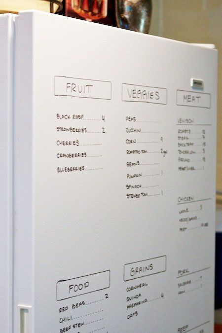 Freezer Inventory  Have an deep freezer and can't keep track of what's inside? Write it on the outside with dry erase marker.