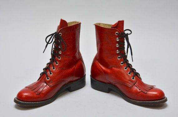 Red Leather Roper Boots  Vintage Women's Kiltie by Day17Vintage