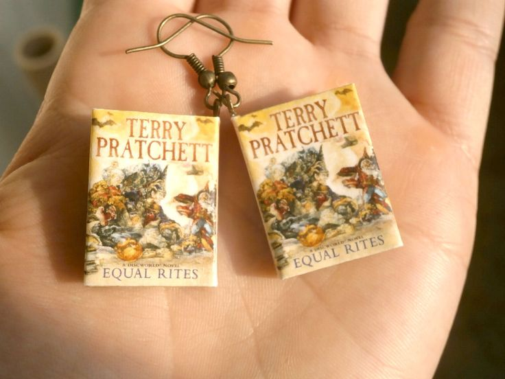 """Terry Pratchett mini book earrings """"Equal Rites"""", Discworld book miniature earrings, origami mini book earrings, Witches story,Birthday gift by TheWorldinpaper on Etsy"""