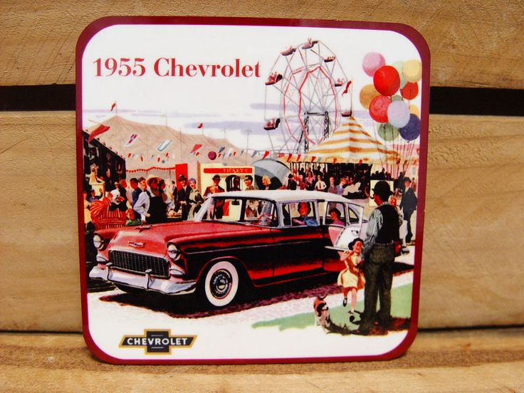 LARGE FRIDGE MAGNET - 95MM - 55 CHEVY CHEVROLET  AT THE SHOW