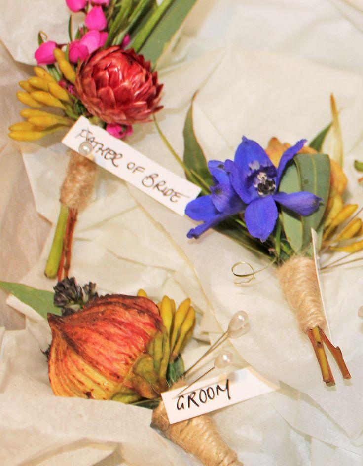 White House Flowers   wedding boutonnieres of native paper daisies, gum buds, boronia #australianflowers