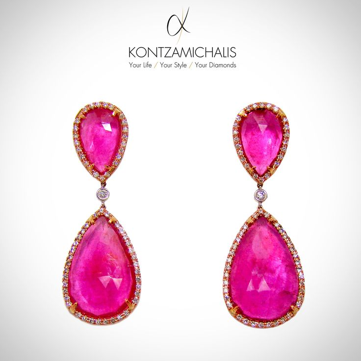 Daydreaming with our pink sapphire earrings! #KontzamichalisJewellery