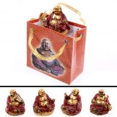 Each Chinese Buddha in a bag is made from resin and has been finished bright metallic gold and deep reds.