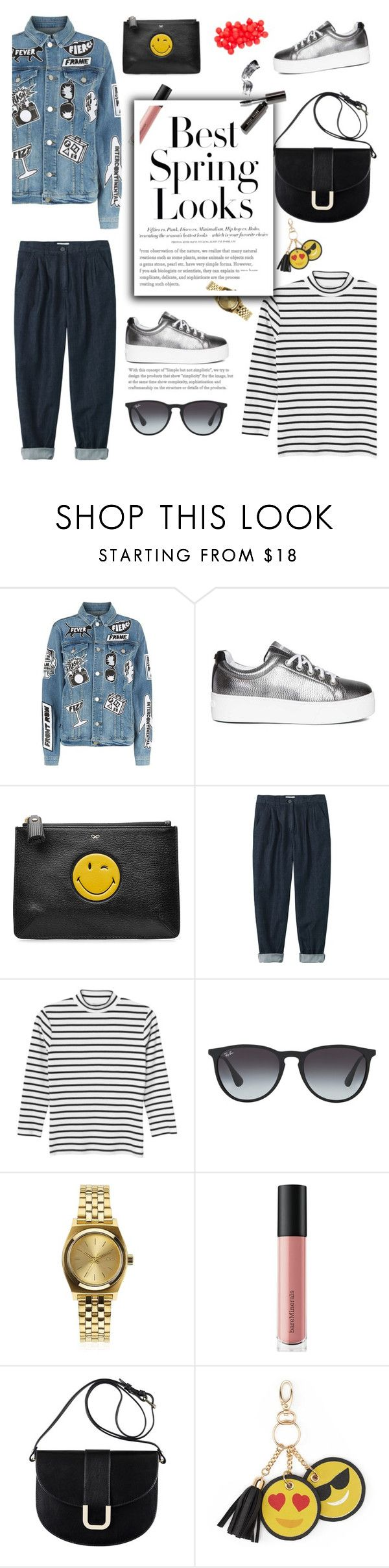"""A Look Ahead Spring 2017..."" by glamorous09 ❤ liked on Polyvore featuring Frame, Kenzo, Anya Hindmarch, H&M, Monki, Ray-Ban, Nixon, Bare Escentuals, A.P.C. and Under One Sky"