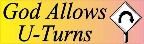 StickerTalk® Brand 10in x 3in God Allows U Turns Vinyl Vehicle Magnet Magnetic Sign Car Magnets