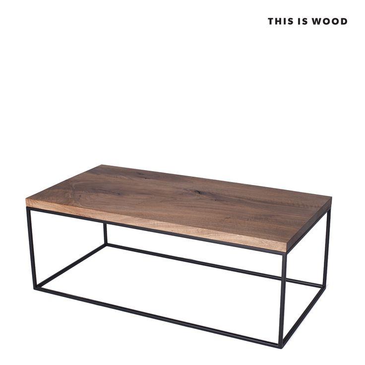 stolik kawowy z drewna orzechowego na nogach ze stali malowanej proszkow
