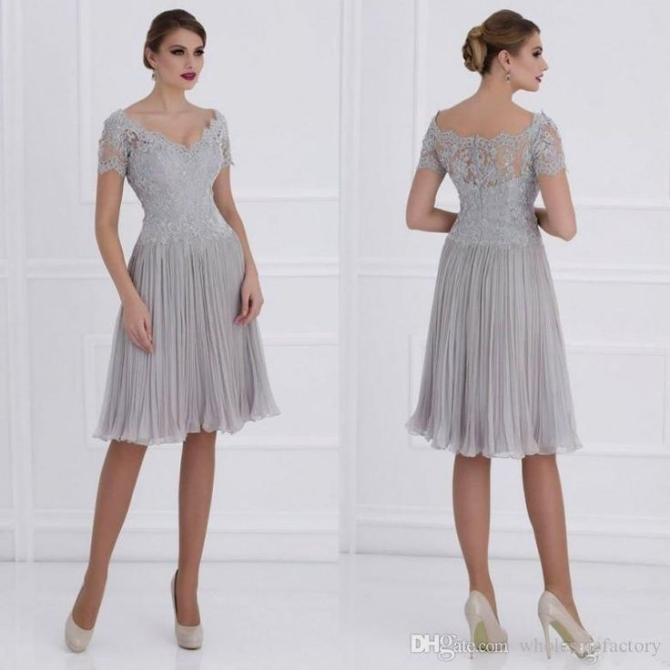 New Arrival Knee Length Mother Dresses 2017 Gray Off Shoulder V Neck Appliques Lace Chiffon Mother Of Bride Groom Dresses Mother Formal Wear Mother Of The Groom Outfits Uk Plus Size Mother Of The Bride Dress From Wholesalefactory, $135.68  Dhgate.Com