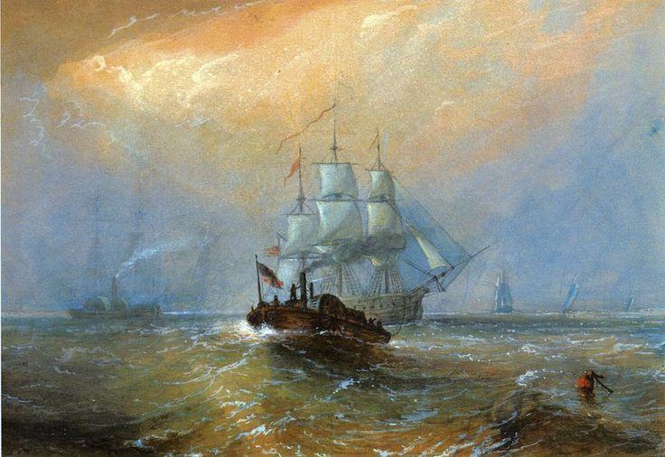 """""""Remorqueurs ci-dessous la Nouvelle-Orléans"""", aquarelle de Alfred Jacob Miller (1810-1874, United States)"""