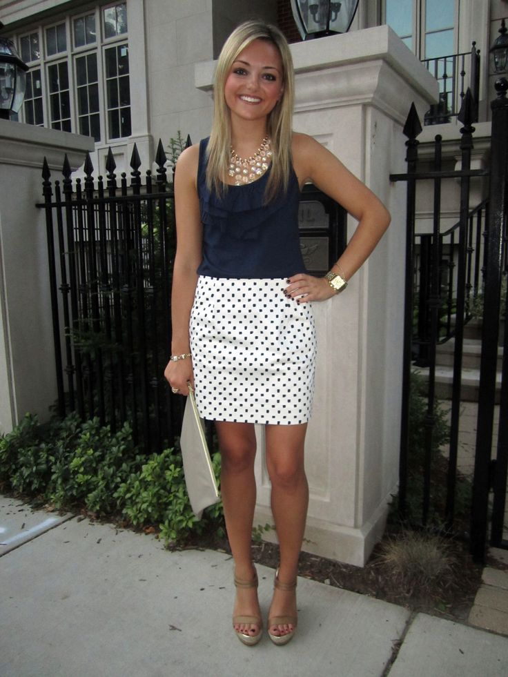 blue ruffle shirt, polka dot skirt, necklace