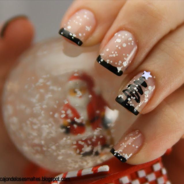 Pretty & Simple Snowy Christmas & Winter nails