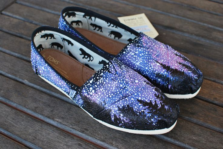 Possibly the best galaxy toms! Alaska Galaxy TOMS shoes by BStreetShoes on Etsy, $149.00
