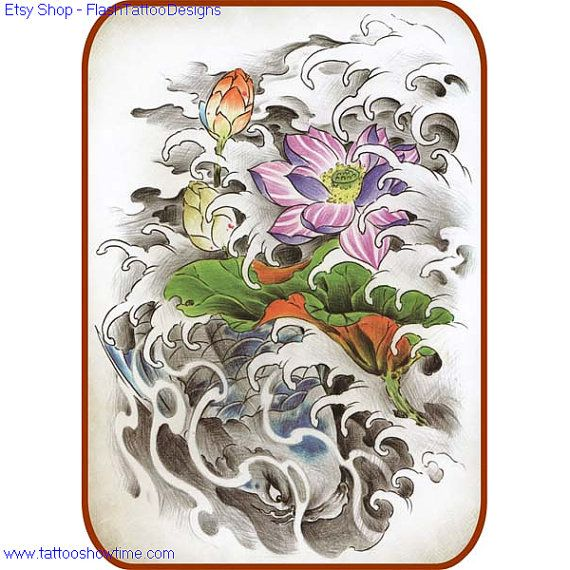 koi flower tattoo design 27 for you on etsy top quality high resolution color design with. Black Bedroom Furniture Sets. Home Design Ideas