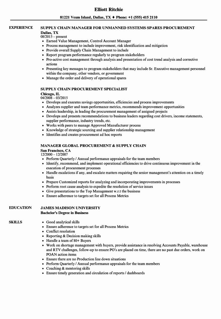 23 Supply Chain Resume Examples in 2020 Resume examples