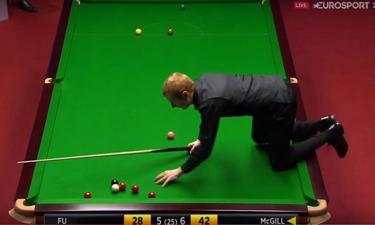 Anthony McGill Climbs On The Table  - World Snooker Championship 2016