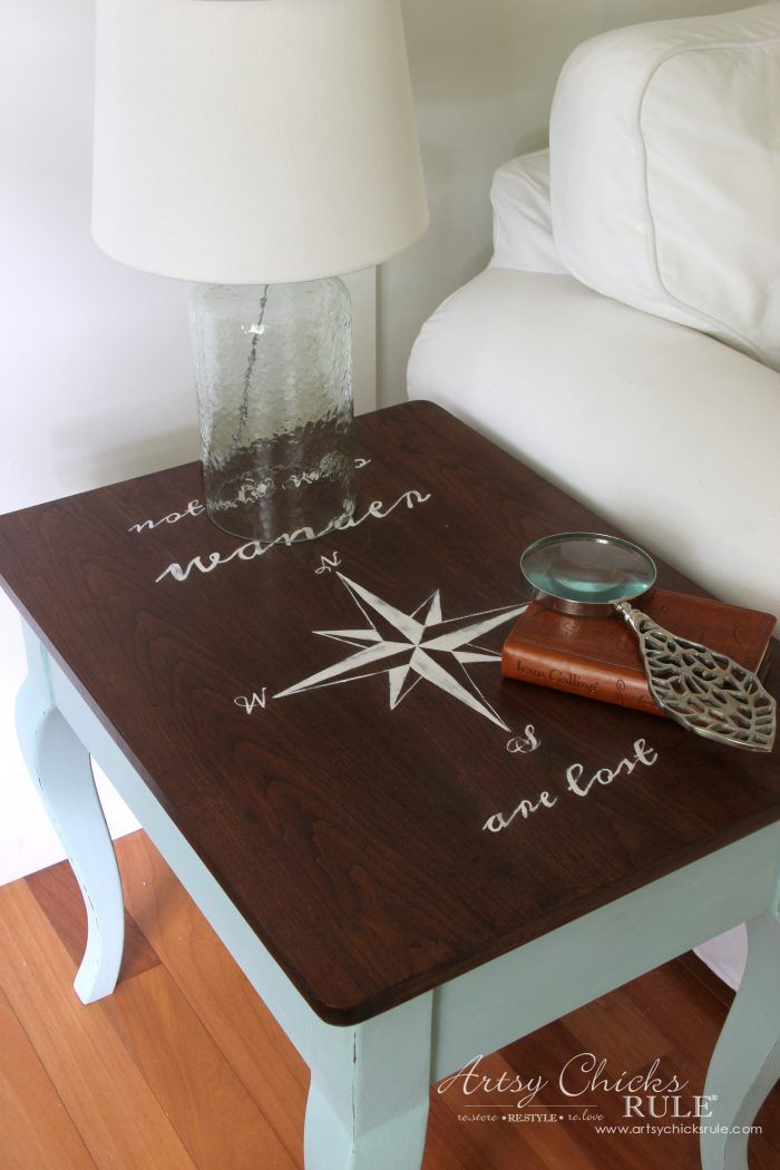 Compass Rose End Table Makeover With Dixie Belle Paint End Table Makeover Table Makeover Diy End Tables