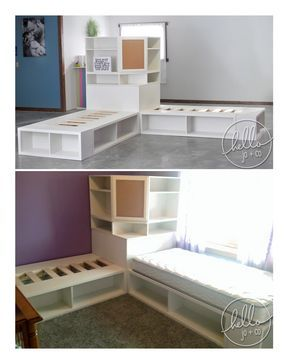www.hellojoandco.com  Store It Corner unit corner hutch and 2 twin storage beds.  Great for shared bedrooms!  Check out more of our work & rave reviews on our fan page www.facebook.com/CuteStuffbyJO   bedroom, kid's room, teen room, shared bedroom, girls' room, boys' room, kids' room