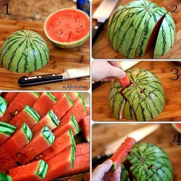 I need to remember this. This is a great idea when summertime comes! How to cut a watermelon more efficiently.