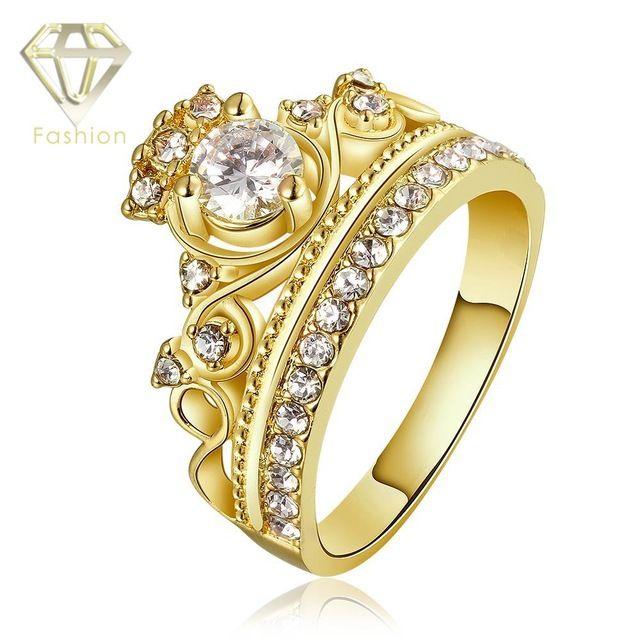 Новый Дизайн Очарование Корона 24 К/Роуз Позолоченные с AAA + Цирконий Кольца С Бриллиантами Ювелирные Изделия для женщины Партия Подарок На День Рождения