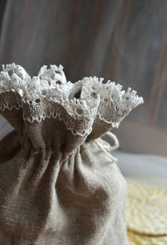 Linen Bag with Lace, Drawstring Pouch, Natural Pouch, Wedding Gift Wrap, Wedding Favor Bag