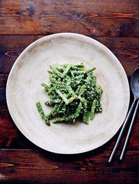 Salad of asparagus, broccolini, beans & sesame ginger dressing