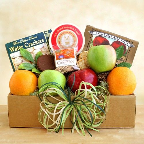 Fruit and Cheese Box - Perfect for any occasion, this fruit and cheese gift box will brighten any day! Includes a delicious seasonal 6-piece fruit assortment, cheese, crackers, fruit candies and seasoned almonds. Purchase @ http://shop.o2o.com/item.php?LBB-KCH462P3a-21330 - $34.99 + s/h http://www.kandms.labellabaskets.com/