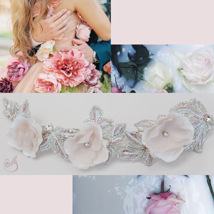 The Annabel Bloom #bridal #accessory was created using French #embroidery covered in #Swarovski #crystals, Miyuki glass beads and adorned with #silk #handmade flowers. The delicate nude pink blossoms give a #romantic #bohemian look to this precious accessory. Find it on www.mscarves.ro! #lovehimbeforeyousayyes #bridal2015