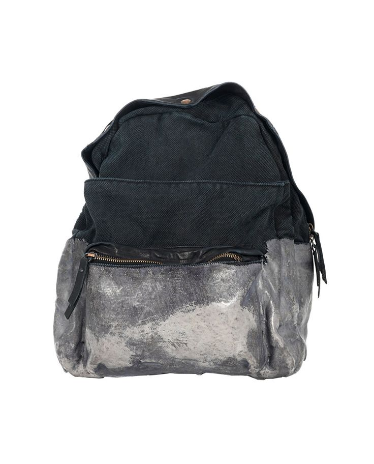 Black canvas backpack worn out look leather trim adjustable shoulder straps  rubber layer on the lower part two front pockets with zipper top closure with zipper and press-studs Size: 40x37x16 cm
