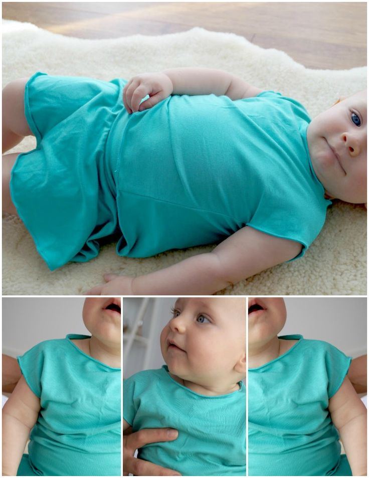 Gorgeous stretch basics for babies <3  Loose fitting square tee and elastic waist skirt. The jersey fabric is not only SUPER comfortable for her but also sits and falls beautifully.